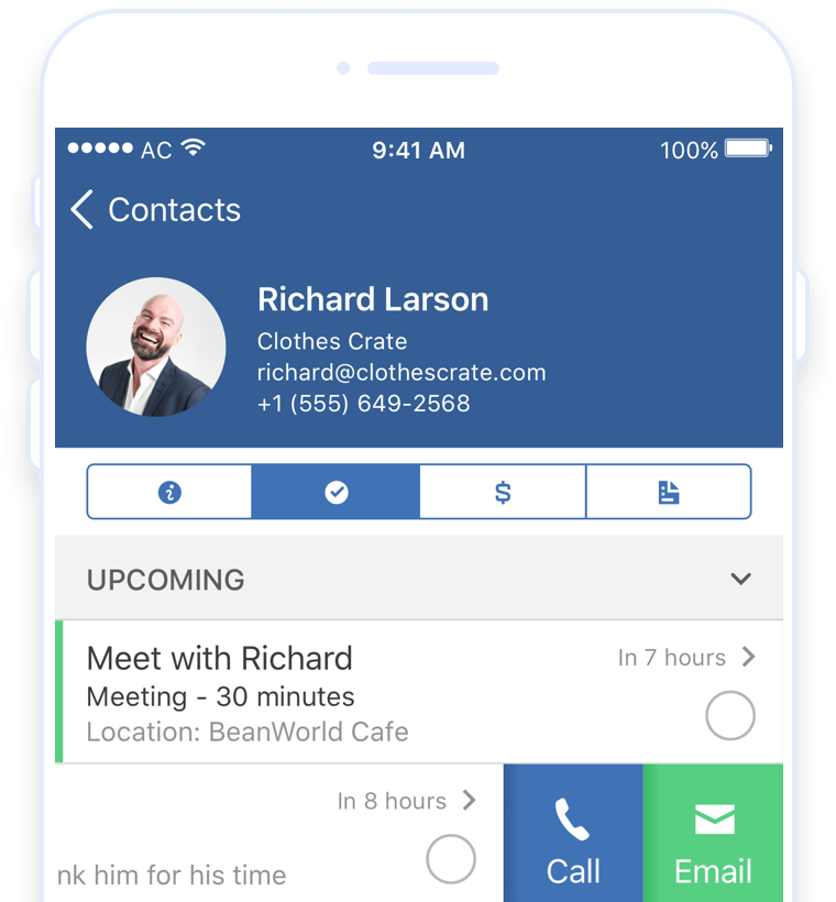 ActiveCampaign customer contact on iOS CRM