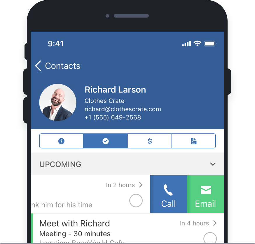 Customer contact information and mobile CRM design for ActiveCampaign