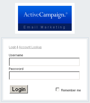 Screenshot of ActiveCampaign log-in screen