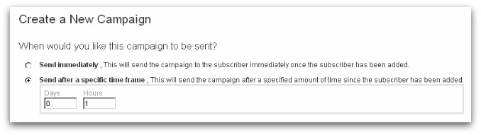 Screenshot of ActiveCampaign Auto-Responder settings